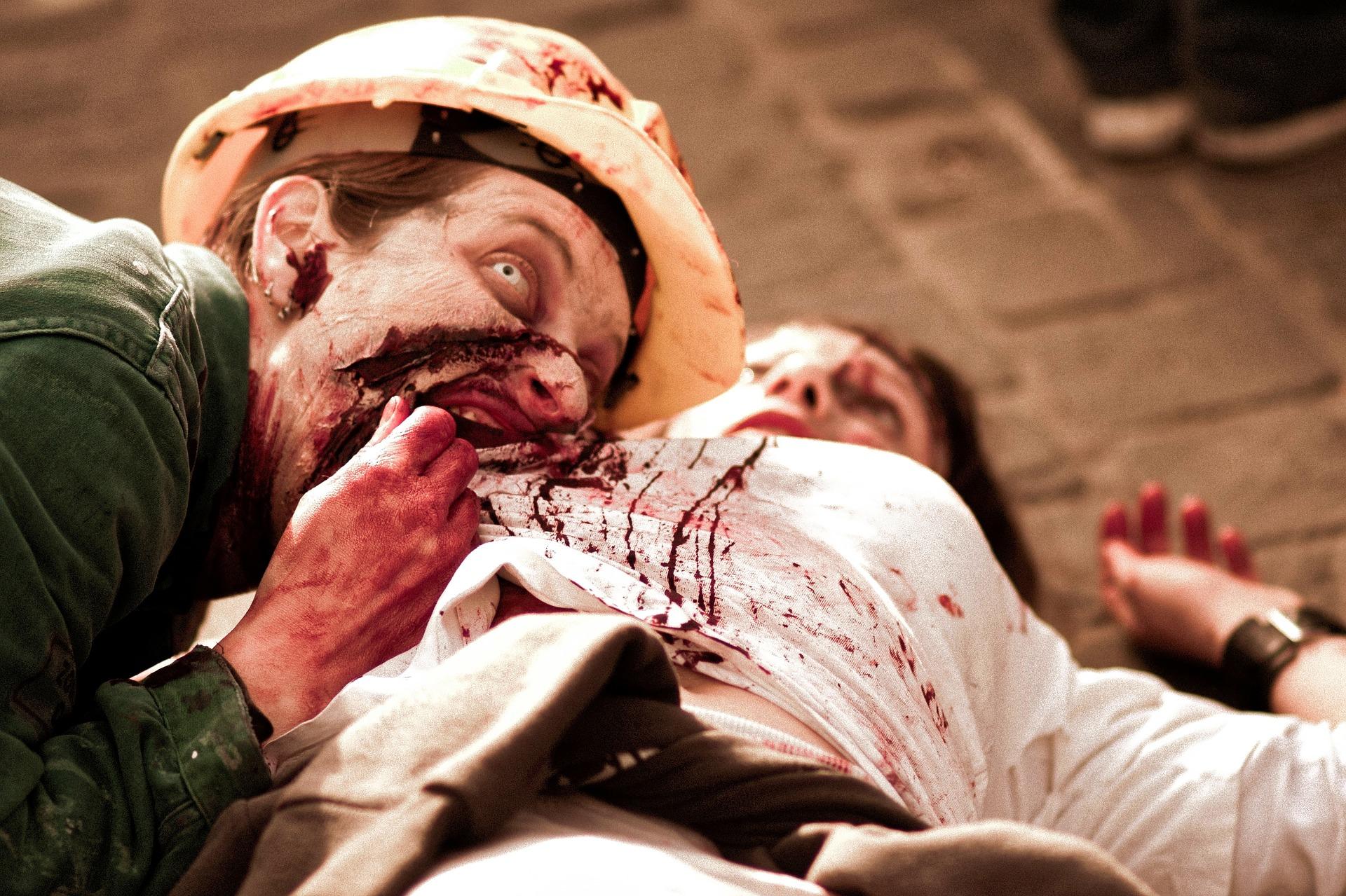 Zombie isst Menschenfleisch